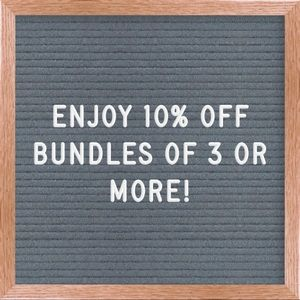 All bundles of 3 or more are 10% off!